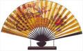 Large Oriental Table Fan Peacock 18in