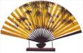 Large Oriental Table Fan Bamboo & Crane 18in
