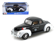 1939 Ford Deluxe Police 1/18 Scale Diecast Car Model By Maisto 31366
