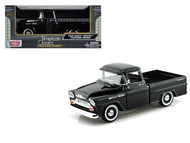1958 Chevrolet Apache Fleetside Pick Up Truck Black 1/24 Scale Diecast Model By Motor Max 79311