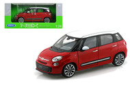 2013 Fiat 500L Red With White Top 1/24 Scale Diecast Car Model By Welly 24038