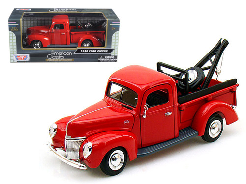 1940 Ford Pick Up Tow Truck Candy Red 1/24 Scale Diecast Model By Motor Max 73234
