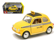 Fiat 500 Taxi Cab Yellow 1/24 Scale Diecast Car Model By Bburago 22105
