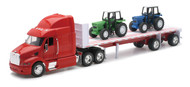 Peterbilt 387 Flatbed With Farm Tractor Semi Truck & Trailer 1/32 Scale By Newray 10283