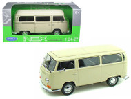 1972 Volkswagen Bus T2 Cream Beige 1/24 Scale Diecast Car Model By Welly 22472