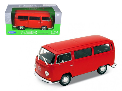 1972 Volkswagen Bus T2 Red 1/24 Scale Diecast Car Model By Welly 22472