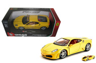 Ferrari F430 Yellow 1/24 Scale Diecast Car Model By Bburago 26008