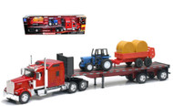 Kenworth W900 With Farm Tractor & Trailer Semi Truck 1/32 Scale By Newray 10353