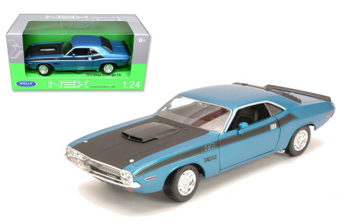1970 Dodge Challenger T/A Blue 1/24 Scale Diecast Car Model By Welly 24029