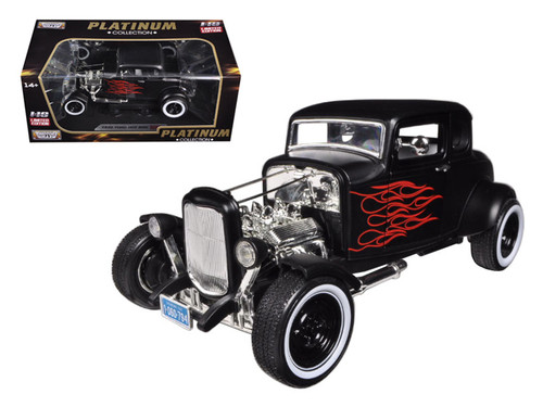 1932 Ford Hot Rod Matt Black With Flames Platinum 1/18 Scale Diecast Car Model By Motor Max 77172