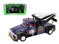1956 Ford F-100 Wrecker Tow Truck Blue 1/18 Scale Diecast Model By Welly 19834