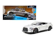 Jada 1/24 Scale Fast And Furious Brians Nissan Skyline GT-R R35 Silver Diecast Car Model 97212