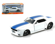 1965 Ford Mustang White With Blue Stripes 1/24 Diecast Car Model BY Jada 90543