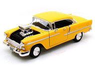 1955 Chevrolet Bel Air With Blower Yellow 1/18 Scale Diecast Car Model By Motor Max 79002