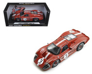 1967 Ford GT MK IV #3 Red/Brown LeMans 24 Hour M. Andretti L. Bianchi 1/18 Scale Diecast Car Model By Shelby Collectibles 425