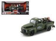 1948 Ford F1 Harley Davidson Truck & 1942 WLA Flathead Motorcycle Green Army 1/25 Scale Diecast Model By Maisto 32185