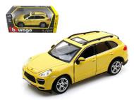 Porsche Cayenne Turbo Yellow 1/24 Scale Diecast Car Model By Bburago 21056