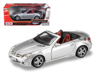 2005 Mercedes Benz SLK55 AMG Convertible Silver 1/18 Scale Diecast Car Model By Motor Max 73162