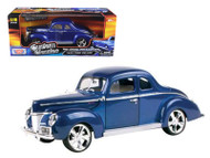 1940 Ford Deluxe Blue Custom Classics 1/18 Scale Diecast Car Model By Motor Max 79003