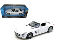 Mercedes Benz SLS AMG Gullwing White 1/24 Scale Diecast Car Model By Welly 24025