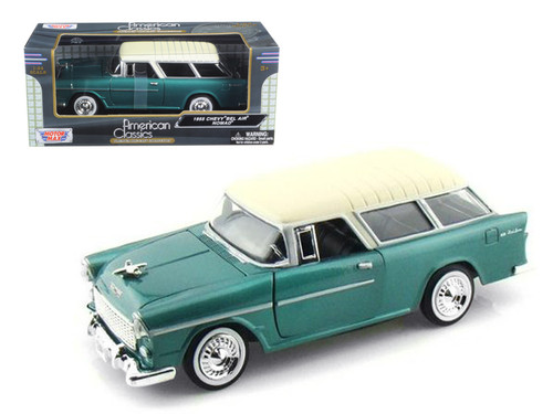 1955 Chevrolet Chevy Bel Air Nomad Green 1/24 Scale Diecast Car Model By Motor Max 73248