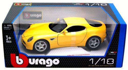 Alfa Romeo 8C Competizione Yellow 1/18 Scale Diecast Car Model By Bburago 12077