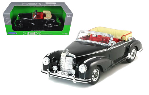1955 Mercedes Benz 300S Black 1/18 Scale Diecast Car Model By Welly 19859