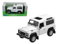 Land Rover Defender White SUV 1/24 Scale Diecast Model By Welly 22498