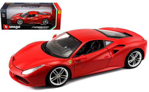 Ferrari 488 GTB Red 1/18 Scale Diecast Car Model By Bburago 16008