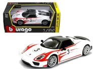 Porsche 918 Spyder Weissach #3 Racing 1/24 Scale Diecast Car Model By Bburago 28009