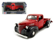 1941 Plymouth Pickup Truck Black & Red 1/24 Scale Diecast Model By Motor Max 73278