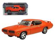1969 Pontiac GTO Orange 1/24 Scale Diecast Car Model By MotorMax 73242