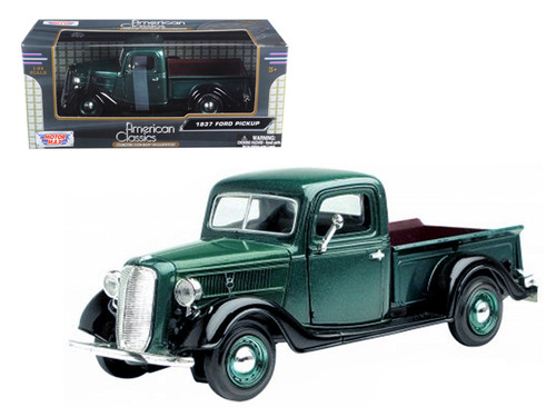 1937 Ford Pickup Truck Black & Green 1/24 Scale Diecast Model BY Motor Max 73233