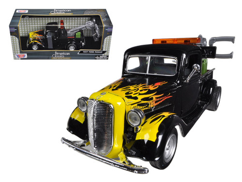 1937 Ford Tow Truck Wrecker Black With Flames 1/24 Scale Diecast Car Model By Motor Max 75341
