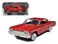 1964 Chevrolet Impala Red 1/24 Scale Diecast Car Model By Motor Max 73259