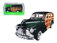 1948 Chevrolet Fleetmaster Woody Wagon Green 1/24 Scale Diecast Car Model By Welly 22083