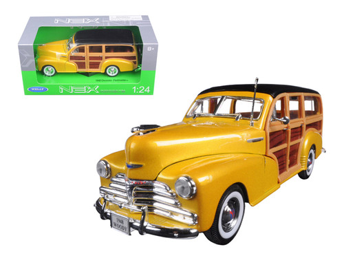 1948 Chevrolet Fleetmaster Woody Wagon Yellow 1/24 Scale Diecast Car Model By Welly 22083
