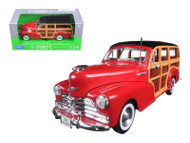 1948 Chevrolet Fleetmaster Woody Wagon Red 1/24 Scale Diecast Car Model By Welly 22083