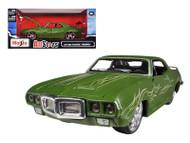 1969 Pontiac Firebird Green 1/24 Scale Diecast Car Model By Maisto 31040