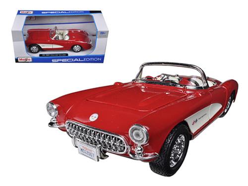 1957 Chevrolet Corvette Red & White 1/24 Scale Diecast Car Model By Maisto 31275