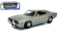 1969 Dodge Charger R/T Silver 1/25 Scale Diecast Car Model By Maisto 31256