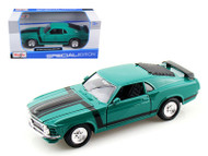 1970 Ford Mustang Boss 302 Green 1/24 Scale Diecast Car Model By Maisto 31943