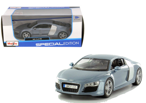 Audi R8 Silver Blue 1/24 Scale Diecast Car Model By Maisto 31281