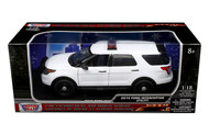 2015 Ford Interceptor Utility Police Plain White 1/18 Scale Diecast Car Model Motor Max 73541