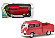 VW Volkswagen Type 2 T1 Double Cab Pickup Truck Red 1/24 Scale Diecast Model By Motor Max 79343