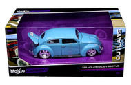 Volkswagen Beetle Bug Blue 1/24 Scale Diecast Car Model By Maisto 31023