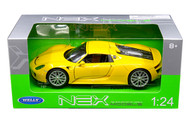 Porsche 918 Spyder Hard Top Yellow 1/24 Scale Diecast Car Model By Welly 24055