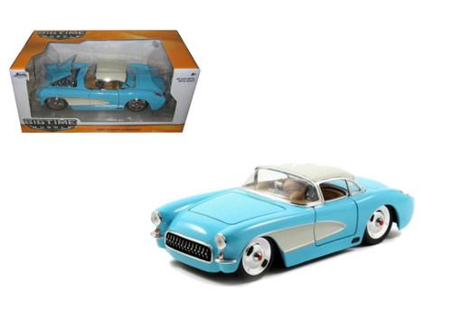 1957 Chevrolet Corvette Blue 1/24 Scale Diecast Car Model By Jada 98162