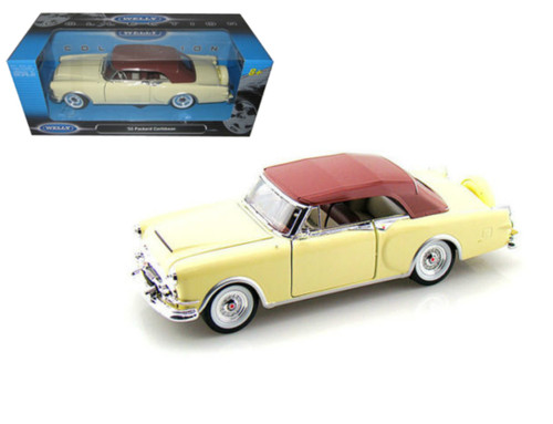 1953 Packard Caribbean Cream Brown Top 1/24 Scale Diecast Car Model By Welly 24016