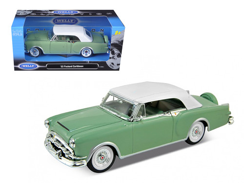 1953 Packard Caribbean Green With White Soft Top 1/24 Scale Diecast Car Model By Welly 24016